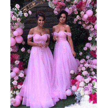 2016 New Peach Bridesmaid Dresses Honor Of Brimaid Formal Gown With Off Shoulder A Line Appliqued Lace Long Cheap