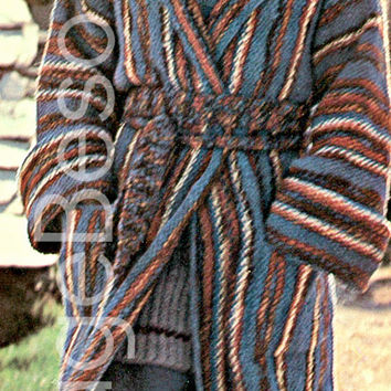 Belted Wrap Coat and Scarf KNITTING Pattern 70s Vintage Coat Knitting Pattern Size 8-10, 12-14  - Pdf Pattern - INSTANT Download