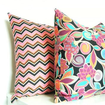 Hot Pink Pillow Set, Girls Room Pillows, Pink and Black, Bohemian Decor, Set of 2,  18x18 and 16x16 Inch