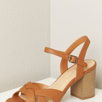 Criss Cross Strappy Wooden Heel Tan
