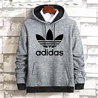 Adidas Winter Popular Women Men Casual Print Hooded Long Sleeve Velvet Sweater Top Sweatshirt Light Grey