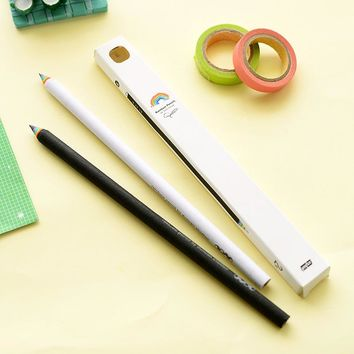 2 pcs/lot South Korea Stationery Rainbow HB Pencil Black and White Students Creative Writing Pencils School Office Supplies