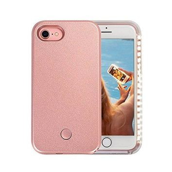iPhone 7 Case, LED Illuminated Selfie Light Cell Phone Case Cover [Rechargeable] Light Up Luminous Selfie Flashlight Case for iPhone 7 4.7inch (Rose Gold)