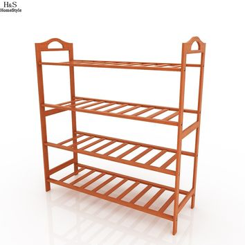 Homdox Brand New Storage Organizer Shoe Rack Natural Bamboo Home Entryway 4 Tiers Shoe Shelf