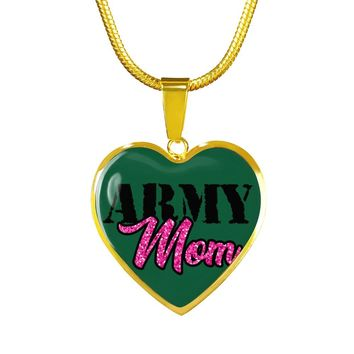 Army Mom Gold Luxury Heart Charm Necklace