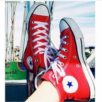 Converse Fashion High tops Wine red Canvas Flats Sneakers Sport Shoes Red