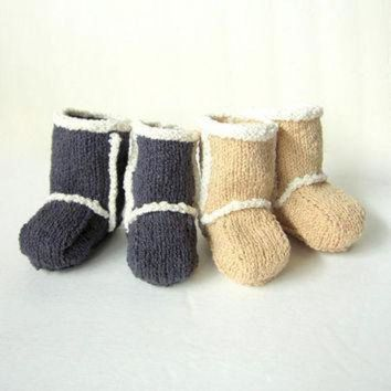 DCCK8X2 Hand Knit Baby Booties - Ugg Inspired Made to Order
