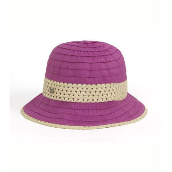 Fuchsia Grosgrain & Ribbon Straw Cloche Hat