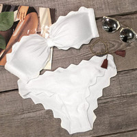 White Lingering Kiss Waves Bikini Set