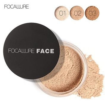 FOCALLURE Makeup Powder 3 Colors Loose Powder Face Makeup Waterproof Loose Powder Skin Finish Powder