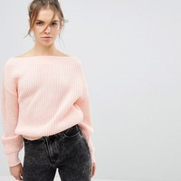 Glamorous Off The Shoulder Sweater In Rib Knit at asos.com