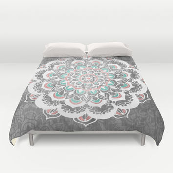 Pastel Floral Medallion on Faded Silver Wood Duvet Cover by Tangerine-Tane