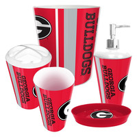 Georgia Bulldogs NCAA Complete Bathroom Accessories 5pc Set