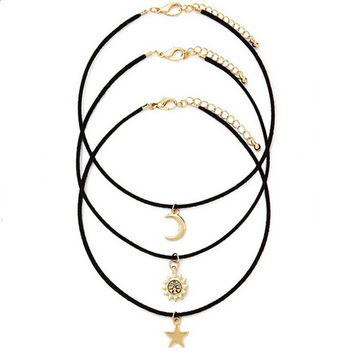 3 Pcs Sets Star Moon Sun Chokers Necklaces Pendants necklace