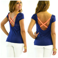 Day At The Boardwalk Navy Crisscross Back Top