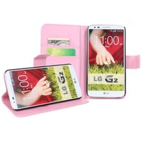 OMIU(TM) Wallet Flip Magnet Stand PU Leather Case Cover with Credit Card Holder for LG G2(Pink), with Stylus