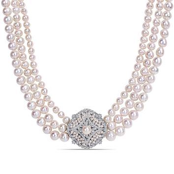 """24""""-26"""" 3 -Strand 7-9.5mm Freshwater Cultured Off Round Pearl Necklace w/ Silver Cubic Zirconia & Pearl Center Pc"""