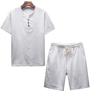 Vertvie Men Linen Sets Two Piece For Male With Button New Tracksuits Male Short Sleeve Summer Loose Set Fitness Set Dropshipping