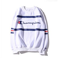 Champion Fashion Women Men Long Sleve Stripe SweaterShirt Sapphire blue
