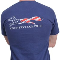 Faded Flag Longshanks Tee Shirt in Soft Navy by Country Club Prep