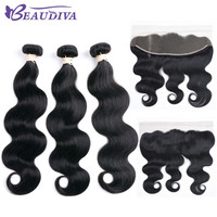 BEAUDIVA Pre Colored Human Hair Weave Bundles With Closure 1# Jet Black Body Wave 13*4 Lace Frontal-in Pre-Colored One Pack from Hair Extensions & Wigs on Aliexpress.com | Alibaba Group