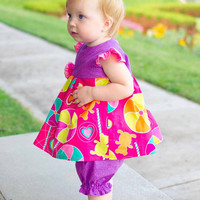 Baby Girl Dress with Matching Diaper Cover...Flutter Sleeves