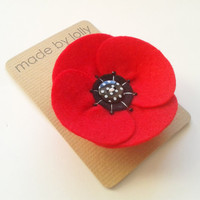 Retro Style Red Poppy Corsage Pin