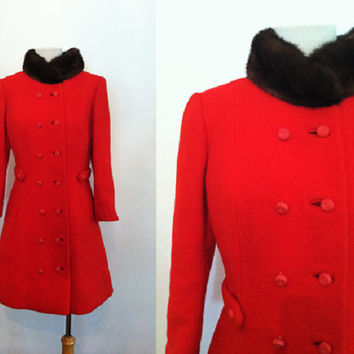 1950s Red Swing Coat Mod Wool Peter Pan Fur Collar | 60s Fitted Mad Men Red Coat S M