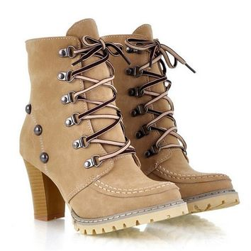 Womens Combat Boots Retro Leather Buckle lace up