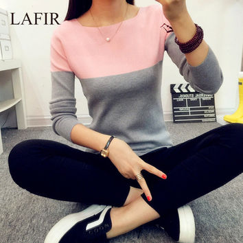 High Elastic Knitted Sweater Women 2016 Spring Autumn Split Women Sweaters And Pullovers Female Pink Tricot Jumper Pull Femme