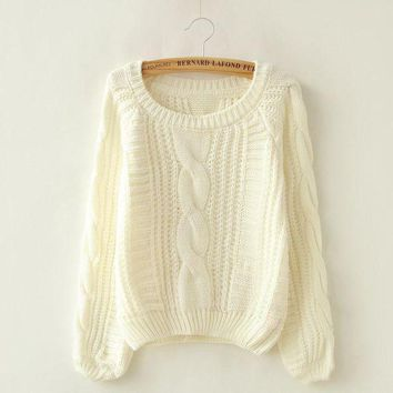 ESBONX5H Long Puff Sleeve Cropped Knit Sweater