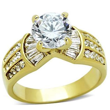 WildKlass Stainless Steel Pave Ring IP Gold(Ion Plating) Women AAA Grade CZ Clear