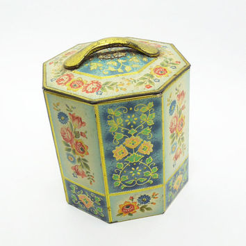 Vintage antique octagonal floral tin toleware canister cookie tin candy tin container - Made in Belgium - rustic farmhouse decor