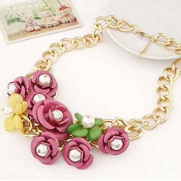Floral Statement  blue pink yellow  chain chunky Necklace