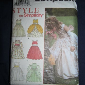 Spring Fever Sale UnCut Simplicity Sewing Pattern, 8953! Size 4-8 Girls, Flower Girl Dresses, Historical Dresses, Girls Ball Gowns