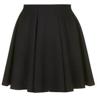 PETITE Box Pleat Flippy Skirt - Black