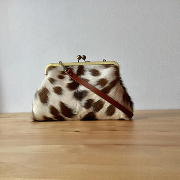 Spotted Cowhide clutch, hair on hide bag , calf hair bag,  leather clutch with strap, kiss lock frame purse, fur clutch