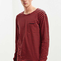 UO Stripe Curved Hem Long Sleeve Tee | Urban Outfitters