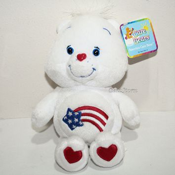 "Licensed cool 2002 White 8"" AMERICA CARE BEAR Care Bears Plush Bean Bag Toy Stars Stripes Flag"