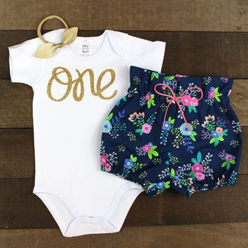 Gold One Navy Floral Bloomer Outfit