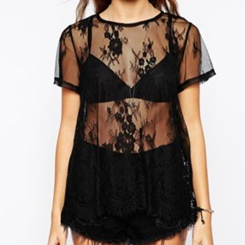 Glamorous Oversize T-Shirt in Sheer Lace with Scallop hem at asos.com