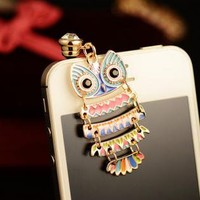 Colorful Owl Pendant Plugy for iPhone SKS213F