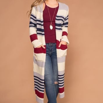 Allison Ivory and Burgundy Stripe Knit Sweater Cardigan