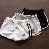 Adidas Women Fashion Drawstring Sport Running Shorts