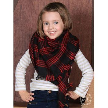 Girls' Let It Snow Plaid Blanket Scarf