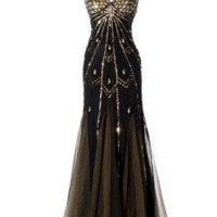 KC131510 Black Art Deco Evening Gown by Kari Chang Couture