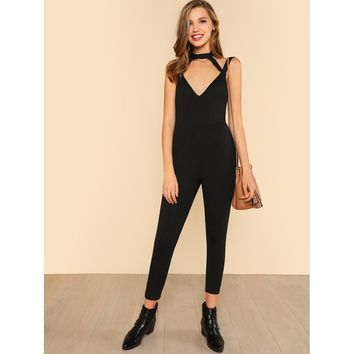 Cut Out Front Open Back Skinny Jumpsuit