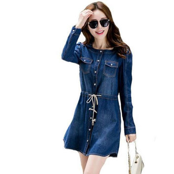 5XL plus size 2016 new autumn winter style long sleeve bandage Denim Dress Elegant vestidos de femininos Dresses women clothing