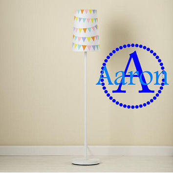 "Initial and Name Monogram Vinyl Wall Decal with Polka Dot Circle Border Frame 18"" Circle-Boys Girls Teen Nursery Dorm Room Monogram"