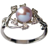 Entwining Vine Cultured Pearl Cubic Zirconia Silver Ring, Lavender